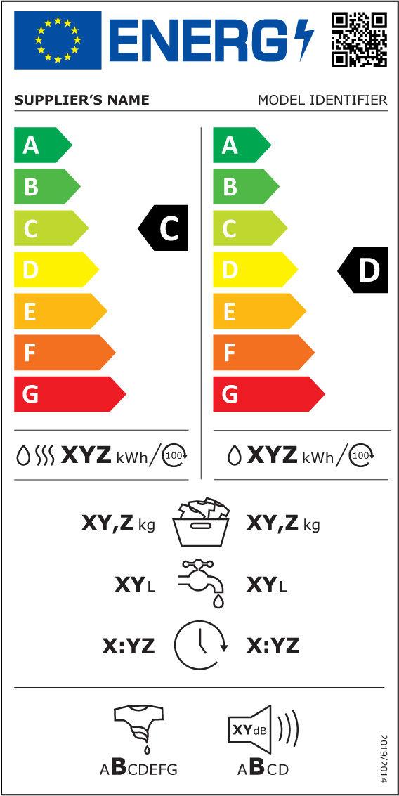 Etiqueta Energética máquinas de lavar e lavar e secar roupa